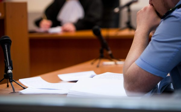 Side profile of man in court